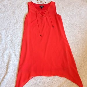 By&By Bright Coral Lace Up Summer Dress (M)